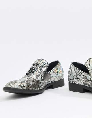 Asos DESIGN loafers in silver snake print with tassels