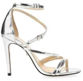 Schutz Licah Strappy Metallic Leather Stiletto Sandals