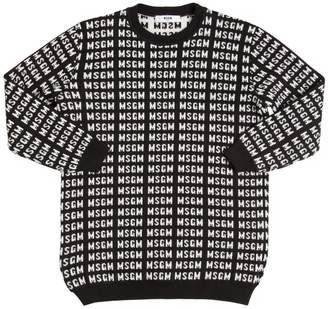 MSGM Logo Jacquard Knit Sweater Dress