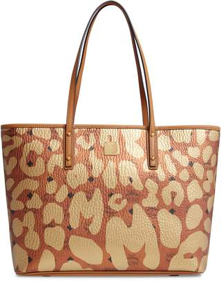MCM Anya Leopard Print Coated Canvas Tote