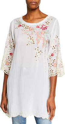 Johnny Was Belina Floral-Embroidered Georgette Tunic w/ Eyelet Detail