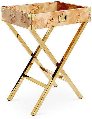 One Kings Lane Hayden Campaign-Style Tray Table - Gold/Burl