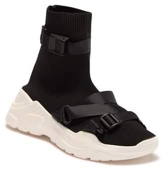 Cape Robbin Off Black Strappy Buckle Sock Sneaker