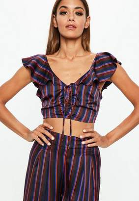 Missguided Burgundy Stripe Crop Top