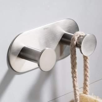 Elie Kraus KRAUS Bathroom Robe and Towel Double Hook, Brushed Nickel Finish
