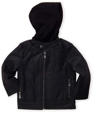 5e04fc23b02c Boys Hooded Leather Jacket - ShopStyle