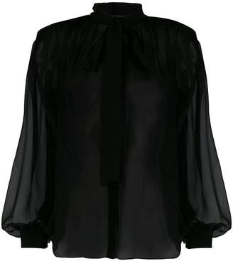 Alberta Ferretti long-sleeve sheer blouse