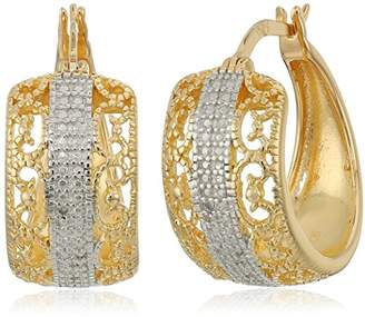 Sterling Silver Diamond Accent Filigree Hoop Earrings with Gold Overlay