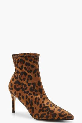boohoo Leopard Pointed Toe Shoe Boots