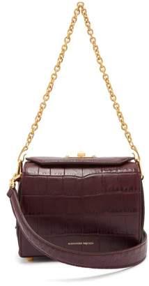 Alexander McQueen Box Bag 19 Crocodile Effect Leather Shoulder Bag - Womens - Burgundy