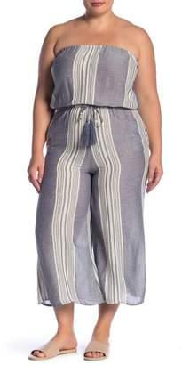 Elan International Coulotte Tie Waist Jumpsuit (Plus Size)