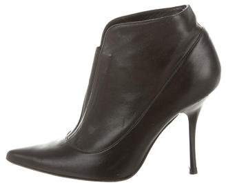 Charles David Leather Pointed-Toe Ankle Boots