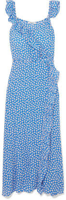 Madewell Ruffled Floral-print Crepe De Chine Dress - Blue
