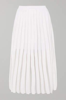Balmain Pleated Knitted Midi Skirt - White