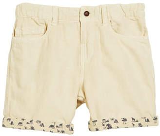 Mayoral Cotton-Blend Shorts w/ Safari-Print Cuffs, Size 12-36 Months