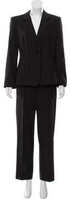 Armani Collezioni Pinstripe Wool Pantsuit Black Pinstripe Wool Pantsuit