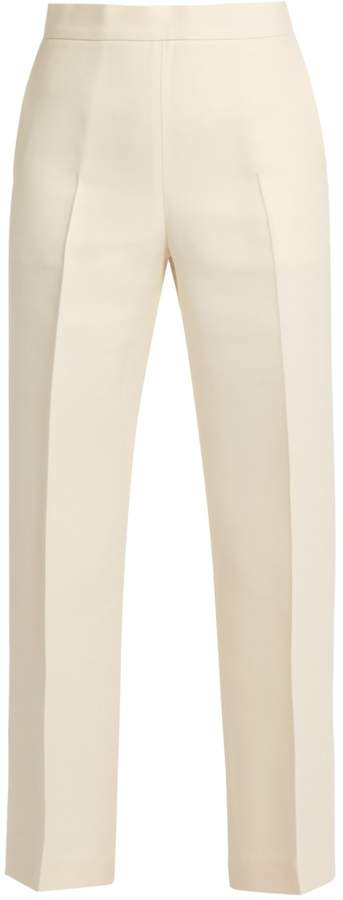 FENDI Wide-leg wool-blend cropped trousers