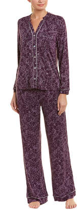 Fleurt Fleur't 2Pc Silk-Trim Pajama Pant Set