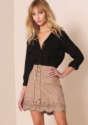 b47b2561b2a Missy Empire Lyla Beige Suede Laser Cut Lace Up Mini Skirt