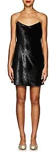 Area Women's Evelyn Crystal-Strap Velvet Slipdress - Black
