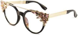 clear Fa.Beau.Lux Muse Side Top Rhinestone Jeweled Metal Bridge Round Eye-Glasses