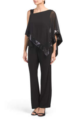 Petite Sequin One Shoulder Poncho Pant Set