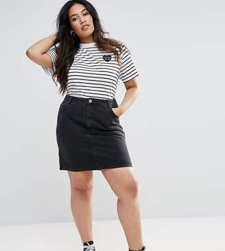 bcf13a895ae Asos DESIGN Curve denim original high waisted skirt in washed black