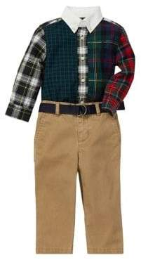 Ralph Lauren Childrenswear Baby Boy's Three Piece Fun Shirt Belted Chino Set