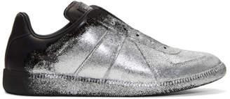 Maison Margiela Black and Silver Glitter Application Replica Sneakers