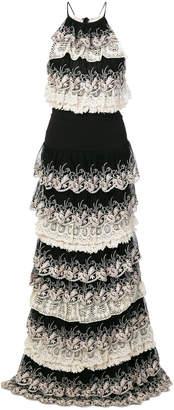 Just Cavalli lace trim tiered dress