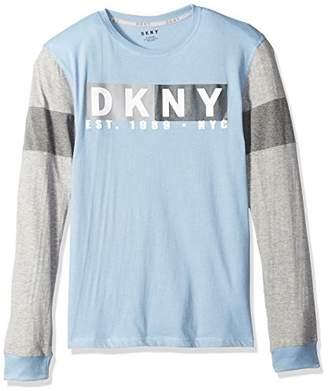 DKNY Men's Big Boys' Long Sleeve Slub Jersey Crew Neck T-Shirt
