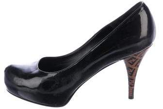 Fendi Patent Leather Round-Toe Pumps