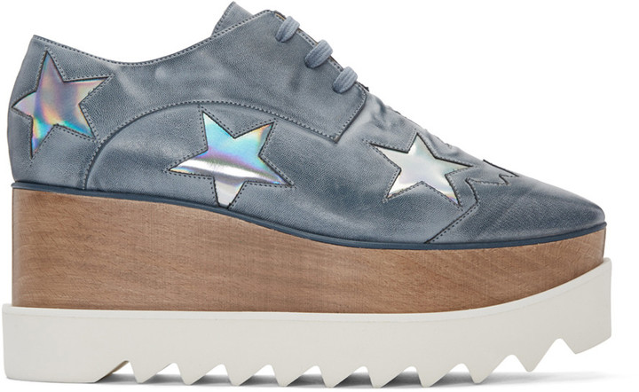 Stella McCartney Blue Platform Star Elyse Derbys