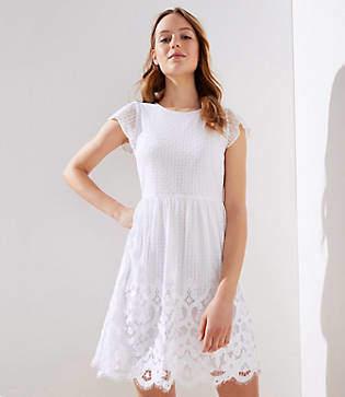 LOFT Floral Lace Flare Dress