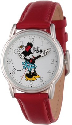 Disney Disney, Articulating Classic Minnie Mouse Blue Polka Dot Dress Women's Silver Cardiff Alloy Watch, Red Leather Strap