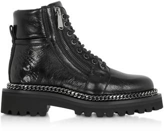 Balmain Black Leather Army Boots