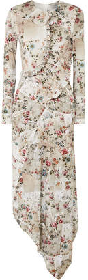 Preen by Thornton Bregazzi Nita Ruffled Floral-print Stretch-crepe Midi Dress - Beige