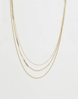 Asos Design DESIGN multirow necklace with mixed delicate ball chains in gold