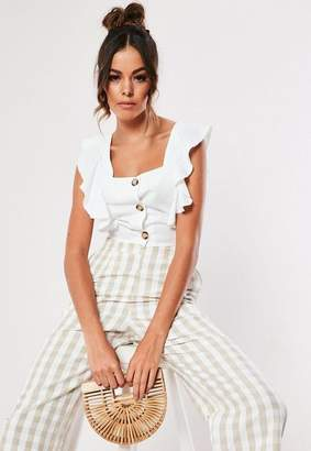 591ac796d89 Missguided White Frill Sleeve Button Crop Top