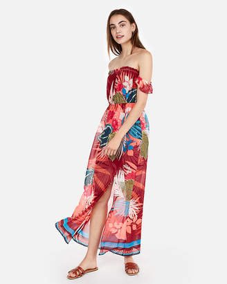 Express Floral Off The Shoulder Flutter Sleeve Maxi Dress