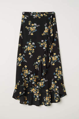 H&M Wrapover Maxi Skirt - Black/floral - Women