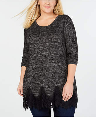 Seven7 Jeans Juniors' Lace-Trimmed Marled Tunic Top