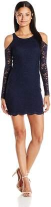 Jump Women's Scalloped Lace Cold Shoulder Dress