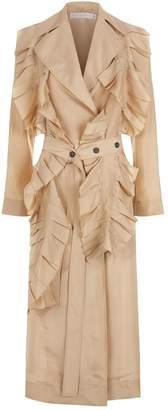 Victoria Beckham Silk Ruffle Trench Coat