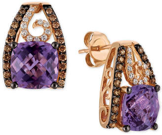 LeVian Le Vian Chocolatier Grape Amethyst (4 ct. t.w.) and Diamond (1/2 ct. t.w.) Stud Earrings in 14k Rose Gold