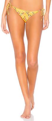 Bond Eye Rose Shirred Satin Tie Side Bikini Bottom