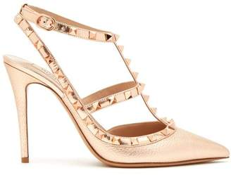 Valentino Rockstud Metallic Leather Pumps - Womens - Rose Gold