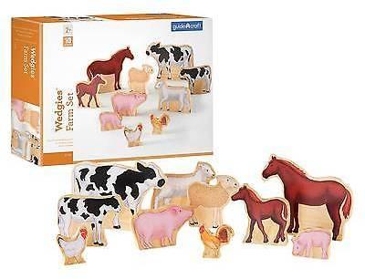 Guidecraft Animal Figure Wedgies Farm Set