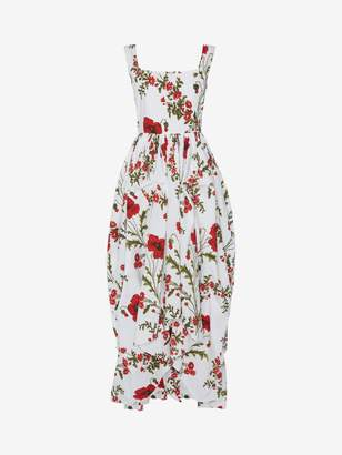 Alexander McQueen Poppyfield Poplin Midi Dress