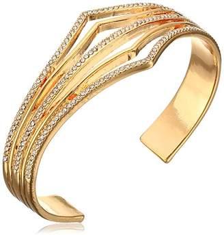 Jessica Simpson Single Bar Pave V Open Cuff Bracelet